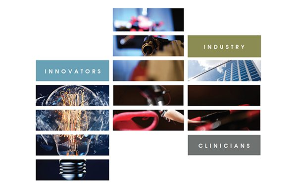 Collage image with text - Innovators, Industry, and Clinicians