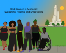 animated image, women of color of different size and ability standing in front of the cathedral of learning. Text: Black Women in Academia: Supporting, Healing, and Empowering