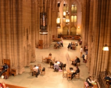 Students studying in the Cathedral Commons room from above
