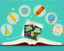 graphics of a book opened and bubbles of images (pencil, crayon, globe, beaker, book) popped up from it. Pop Rocks candies in the middle