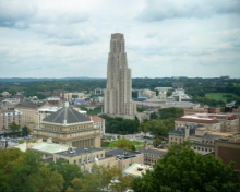 view of oakland campus, focusing on cathedral of learning and soldiers and sailors building